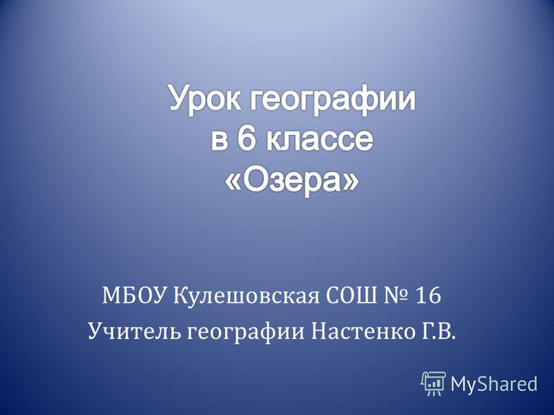 МБОУ Кулешовская СОШ 16 Учитель географии Настенко Г.В.