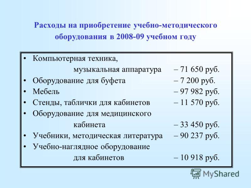 Расходы на приобретение учебно-методического оборудования в 2008-09 учебном году Компьютерная техника, музыкальная аппаратура – 71 650 руб. Оборудование для буфета – 7 200 руб. Мебель – 97 982 руб. Стенды, таблички для кабинетов – 11 570 руб. Оборудо