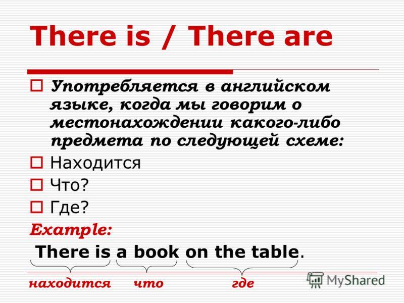 There is / There are Употребляется в английском языке, когда мы говорим о местонахождении какого-либо предмета по следующей схеме: Находится Что? Где? Example: There is a book on the table. находитсячтогде