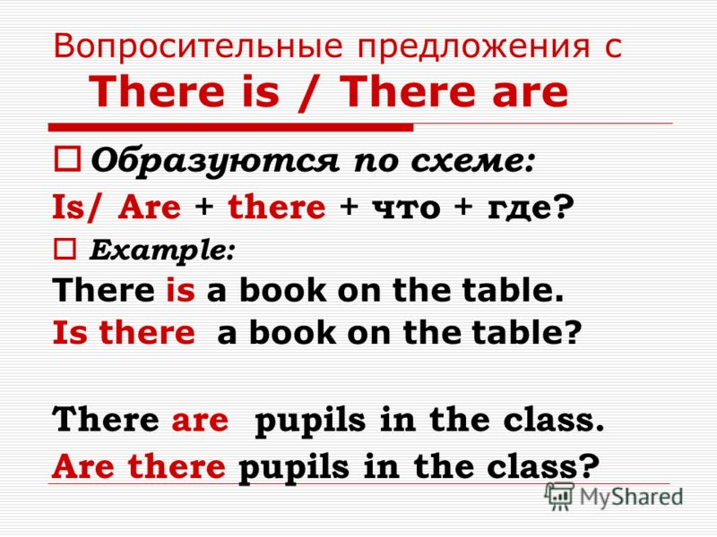 Вопросительные предложения с There is / There are Образуются по схеме: Is/ Are + there + что + где? Example: There is a book on the table. Is there a book on the table? There are pupils in the class. Are there pupils in the class?