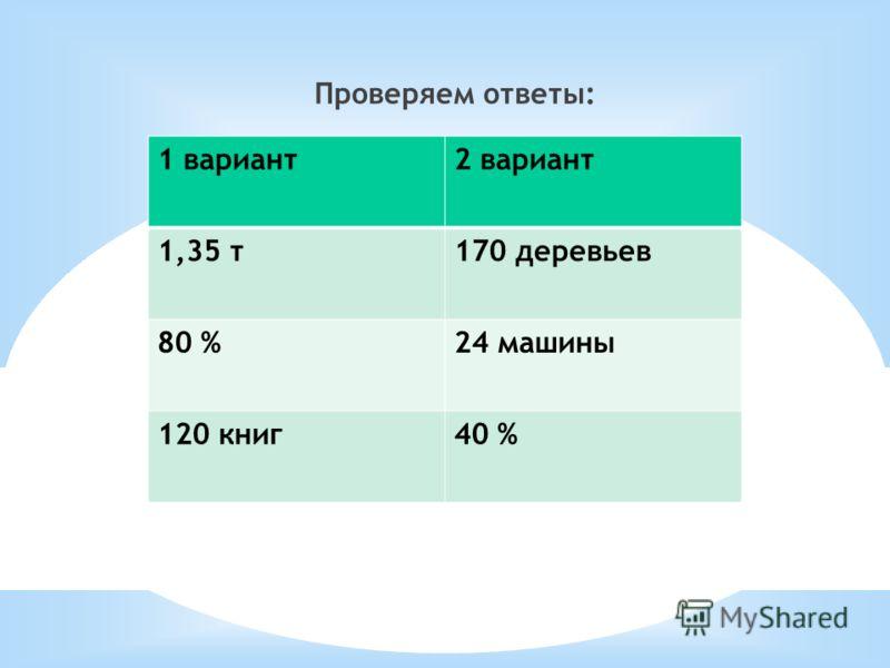 Проверяем ответы: 1 вариант2 вариант 1,35 т170 деревьев 80 %24 машины 120 книг40 %
