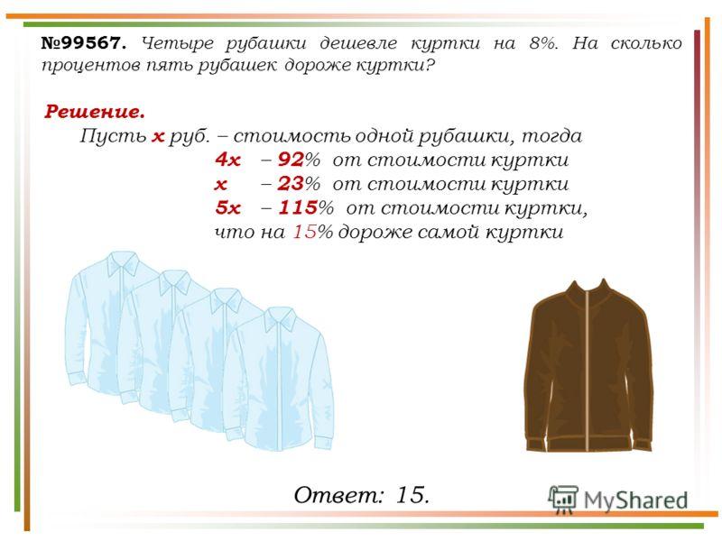99567. Четыре рубашки дешевле куртки на 8%. На сколько процентов пять рубашек дороже куртки? Решение. Пусть х руб. – стоимость одной рубашки, тогда 4х – 92 % от стоимости куртки х – 23 % от стоимости куртки 5х – 115 % от стоимости куртки, что на 15%