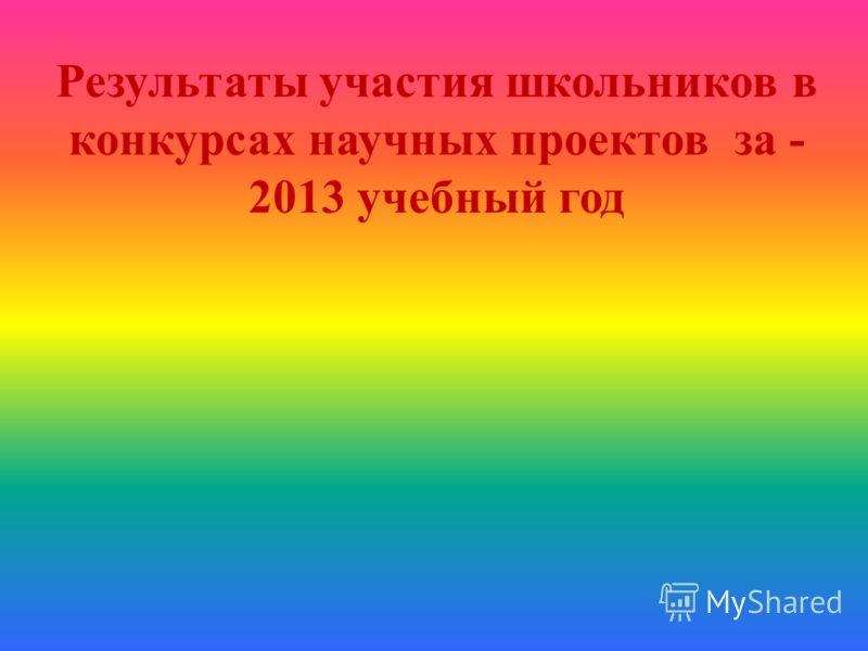 Результаты участия школьников в конкурсах научных проектов за - 2013 учебный год