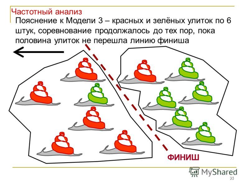 35 ФИНИШ Пояснение к Модели 3 – красных и зелёных улиток по 6 штук, соревнование продолжалось до тех пор, пока половина улиток не перешла линию финиша Частотный анализ