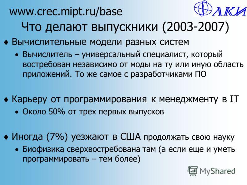 www.crec.mipt.ru/base Что делают выпускники (2003-2007) Вычислительные модели разных систем Вычислитель – универсальный специалист, который востребован независимо от моды на ту или иную область приложений. То же самое с разработчиками ПО Карьеру от п
