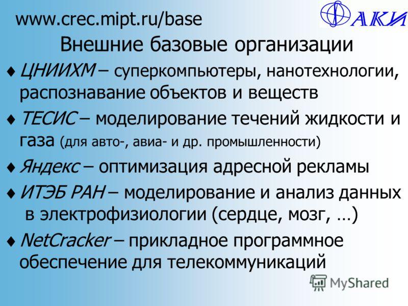 www.crec.mipt.ru/base Внешние базовые организации ЦНИИХМ – суперкомпьютеры, нанотехнологии, распознавание объектов и веществ ТЕСИС – моделирование течений жидкости и газа (для авто-, авиа- и др. промышленности) Яндекс – оптимизация адресной рекламы И