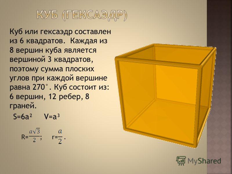 Куб или гексаэдр составлен из 6 квадратов. Каждая из 8 вершин куба является вершиной 3 квадратов, поэтому сумма плоских углов при каждой вершине равна 270°. Куб состоит из: 6 вершин, 12 ребер, 8 граней. R= ; r=. S=6a²V=a³