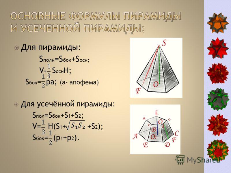 Для пирамиды: S полн =S бок +S осн; V = S осн H; S бок = pа; (а- апофема) Для усечённой пирамиды: S пол =S бок +S 1 +S 2 ; V= H(S 1 + +S 2 ); S бок = (p 1 +p 2 ).