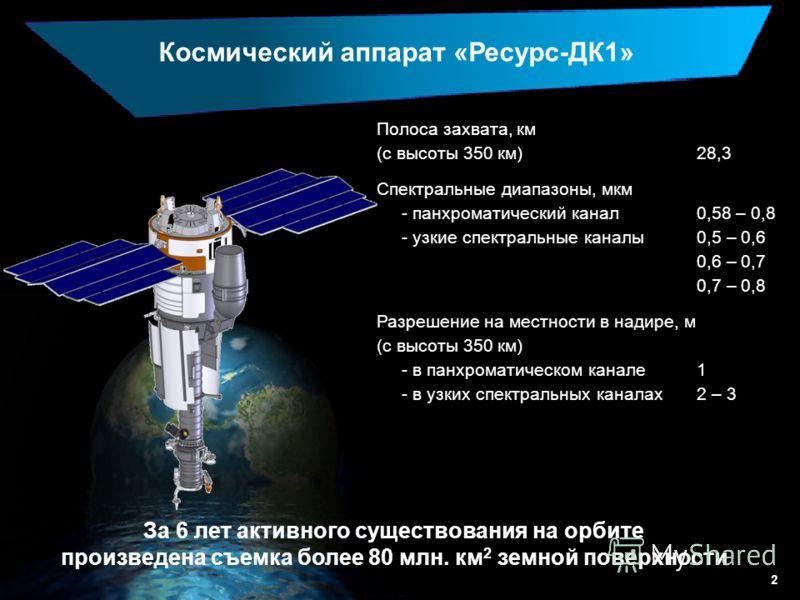 2 Космический аппарат «Ресурс-ДК1» Полоса захвата, км (с высоты 350 км)28,3 Спектральные диапазоны, мкм - панхроматический канал0,58 – 0,8 - узкие спектральные каналы0,5 – 0,6 0,6 – 0,7 0,7 – 0,8 Разрешение на местности в надире, м (с высоты 350 км)