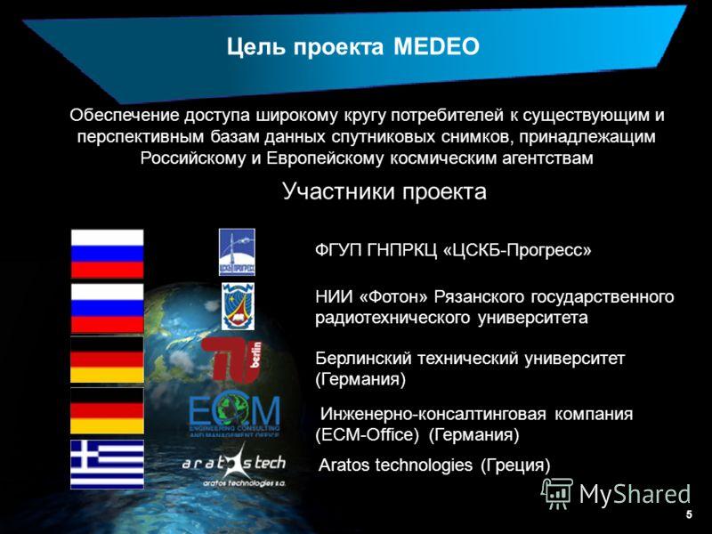 5 Обеспечение доступа широкому кругу потребителей к существующим и перспективным базам данных спутниковых снимков, принадлежащим Российскому и Европейскому космическим агентствам Цель проекта MEDEO Участники проекта Инженерно-консалтинговая компания