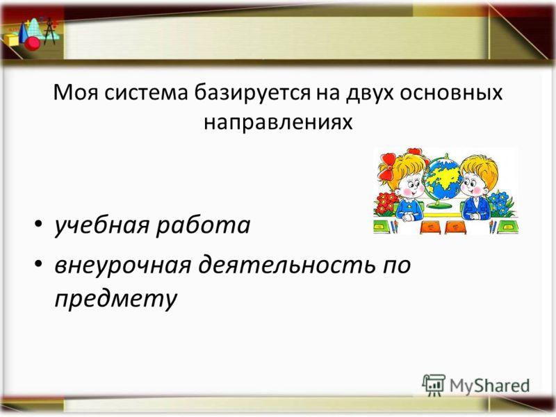 Моя система базируется на двух основных направлениях учебная работа внеурочная деятельность по предмету