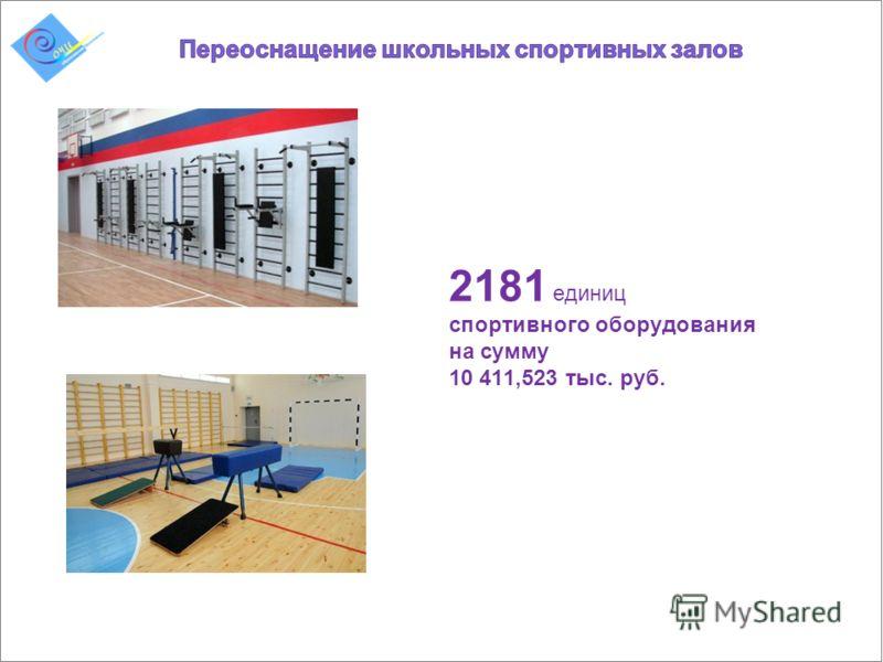 2181 единиц спортивного оборудования на сумму 10 411,523 тыс. руб.