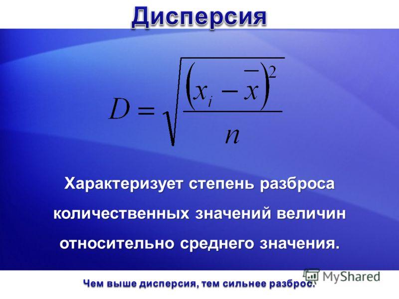 Характеризует степень разброса количественных значений величин относительно среднего значения.