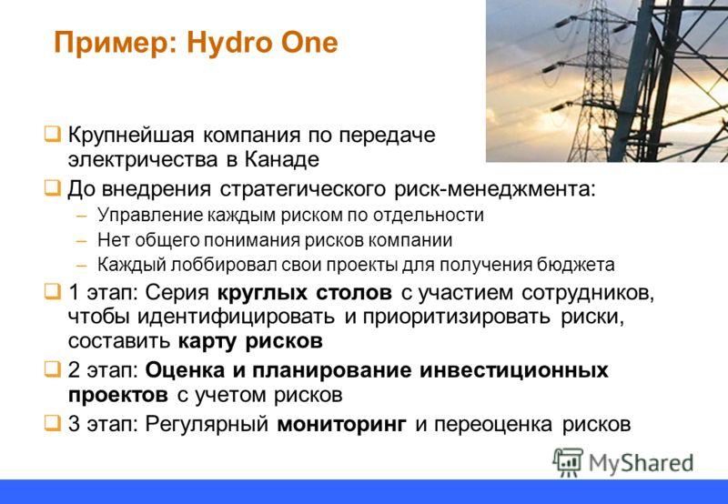 Пример: Hydro One Крупнейшая компания по передаче электричества в Канаде До внедрения стратегического риск-менеджмента: –Управление каждым риском по отдельности –Нет общего понимания рисков компании –Каждый лоббировал свои проекты для получения бюдже