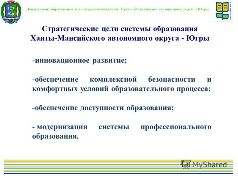 Стратегические цели системы образования Ханты-Мансийского автономного округа - Югры Департамент образования и молодежной политики Ханты-Мансийского автономного округа - Югры -инновационное развитие; -обеспечение комплексной безопасности и комфортных