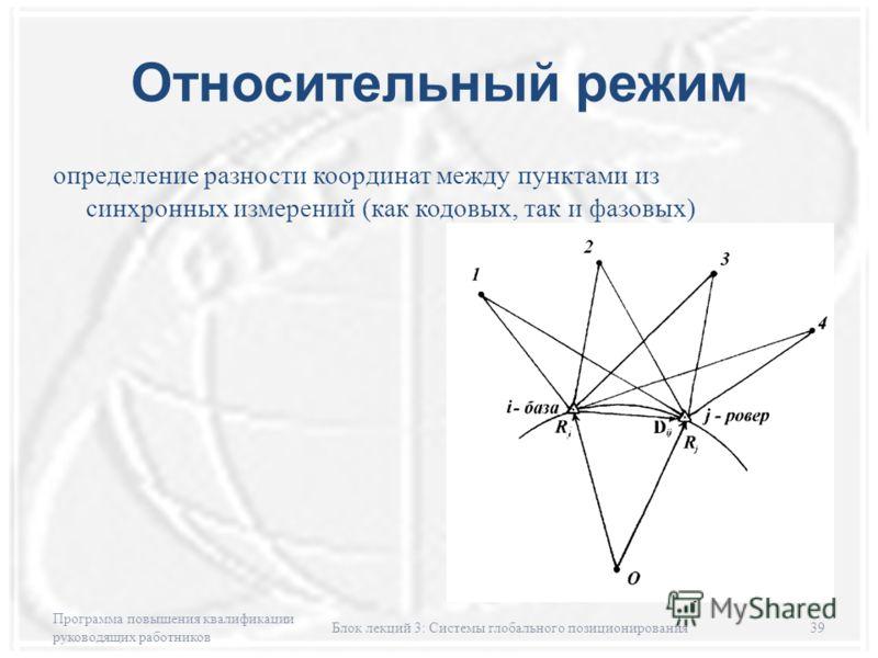Относительный режим определение разности координат между пунктами из синхронных измерений (как кодовых, так и фазовых) Программа повышения квалификации руководящих работников Блок лекций 3: Системы глобального позиционирования39