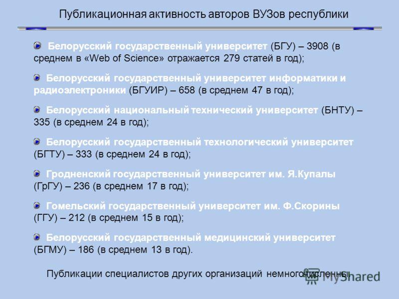 Публикационная активность авторов ВУЗов республики Белорусский государственный университет (БГУ) – 3908 (в среднем в «Web of Science» отражается 279 статей в год); Белорусский государственный университет информатики и радиоэлектроники (БГУИР) – 658 (