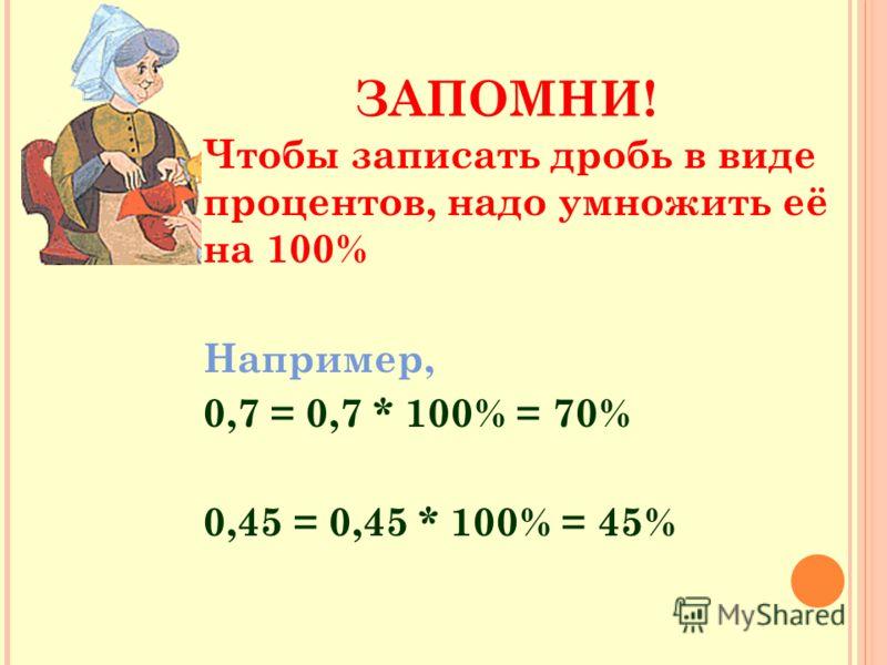 ЗАПОМНИ! Чтобы записать дробь в виде процентов, надо умножить её на 100% Например, 0,7 = 0,7 * 100% = 70% 0,45 = 0,45 * 100% = 45%