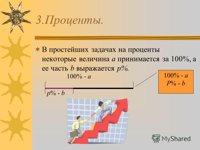 3.Проценты. В простейших задачах на проценты некоторые величина а принимается за 100%, а ее часть b выражается p%. 100% - a p% - b 100% - a P% - b
