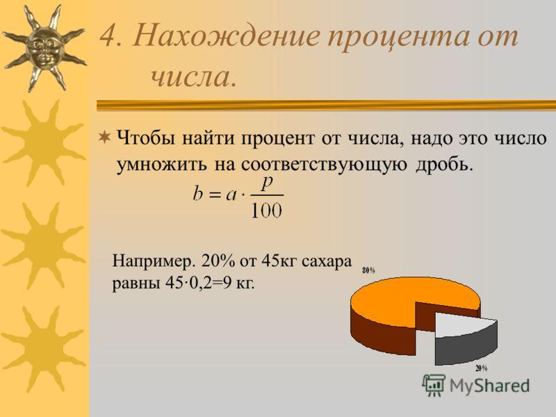 4. Нахождение процента от числа. Чтобы найти процент от числа, надо это число умножить на соответствующую дробь. Например. 20% от 45кг сахара равны 45·0,2=9 кг.