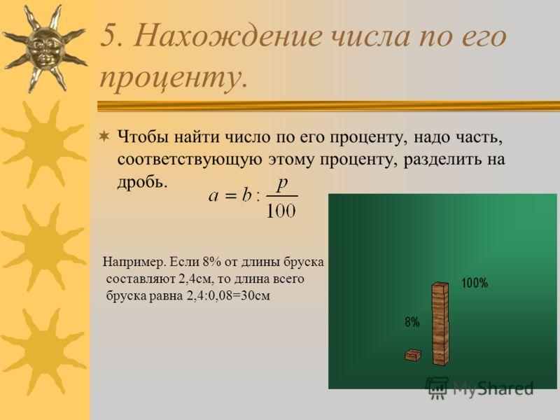 5. Нахождение числа по его проценту. Чтобы найти число по его проценту, надо часть, соответствующую этому проценту, разделить на дробь. Например. Если 8% от длины бруска составляют 2,4см, то длина всего бруска равна 2,4:0,08=30см