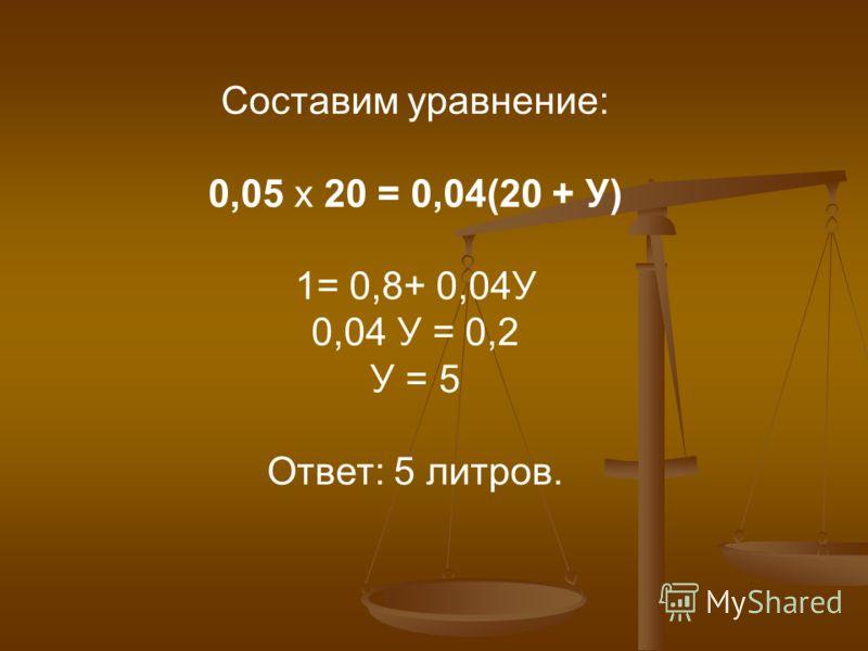 Составим уравнение: 0,05 х 20 = 0,04(20 + У) 1= 0,8+ 0,04У 0,04 У = 0,2 У = 5 Ответ: 5 литров.