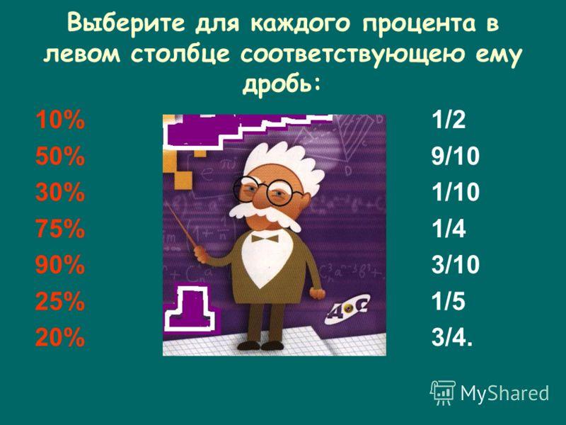 Выберите для каждого процента в левом столбце соответствующею ему дробь: 10% 1/2 50% 9/10 30% 1/10 75% 1/4 90% 3/10 25% 1/5 20% 3/4.