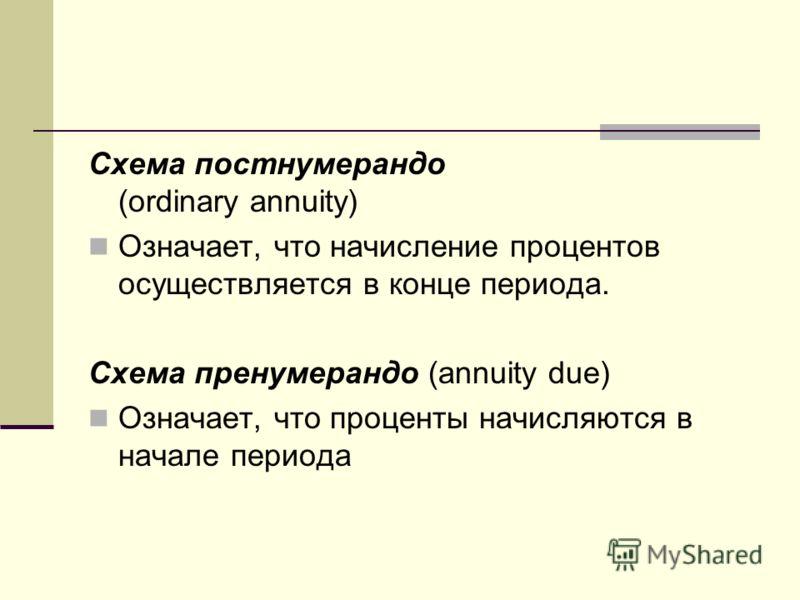 Схема постнумерандо (ordinary annuity) Означает, что начисление процентов осуществляется в конце периода. Схема пренумерандо (annuity due) Означает, что проценты начисляются в начале периода