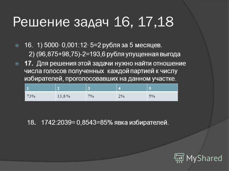 Решение задач 16, 17,18 16. 1) 5000· 0,001:12· 5=2 рубля за 5 месяцев. 2) (96,875+98,75)-2=193,6 рубля упущенная выгода 17. Для решения этой задачи нужно найти отношение числа голосов полученных каждой партией к числу избирателей, проголосовавших на