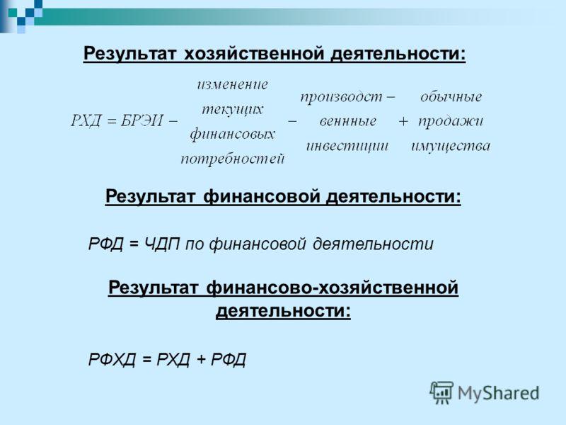 РФД = ЧДП по финансовой деятельности РФХД = РХД + РФД Результат хозяйственной деятельности: Результат финансовой деятельности: Результат финансово-хозяйственной деятельности: