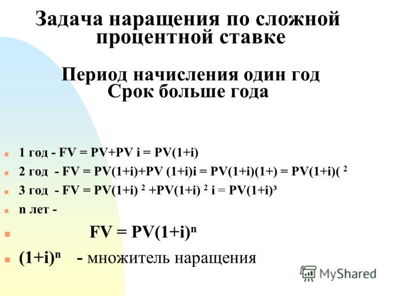 Задача наращения по сложной процентной ставке Период начисления один год Срок больше года n 1 год - FV = PV+PV i = PV(1+i) n 2 год - FV = PV(1+i)+PV (1+i)i = PV(1+i)(1+) = PV(1+i)( 2 n 3 год - FV = PV(1+i) 2 +PV(1+i) 2 i = PV(1+i)³ n n лет - n FV = P