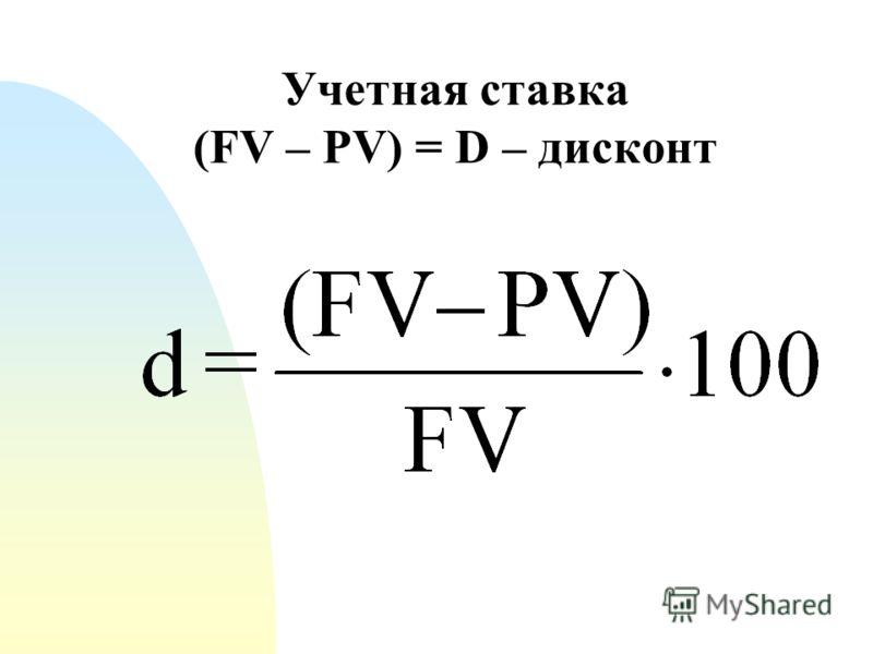 Учетная ставка (FV – PV) = D – дисконт