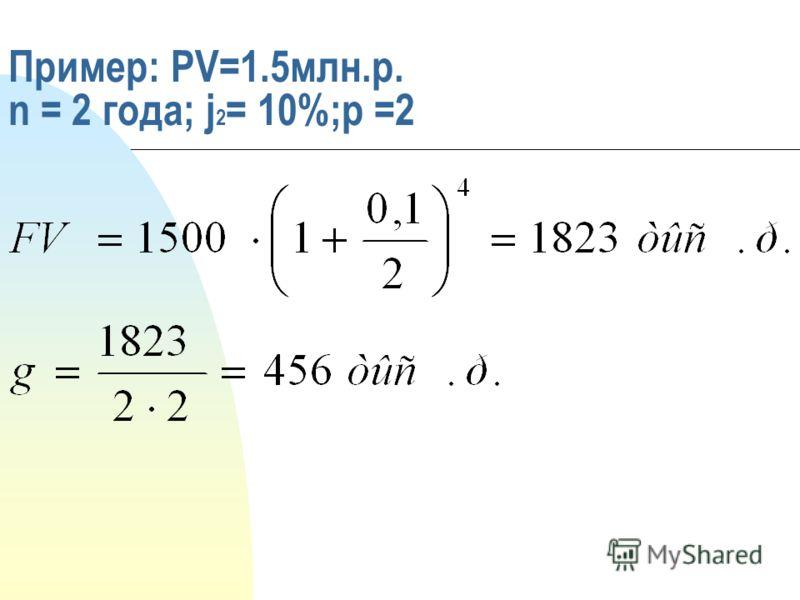Пример: PV=1.5млн.р. n = 2 года; j 2 = 10%;p =2