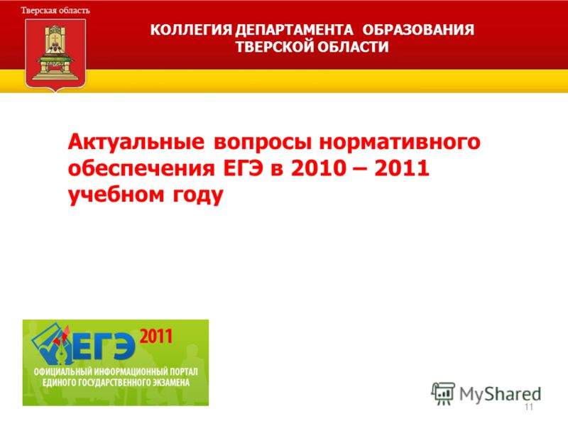 11 Актуальные вопросы нормативного обеспечения ЕГЭ в 2010 – 2011 учебном году КОЛЛЕГИЯ ДЕПАРТАМЕНТА ОБРАЗОВАНИЯ ТВЕРСКОЙ ОБЛАСТИ