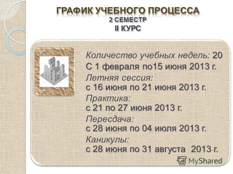 20 Количество учебных недель: 20 С 1 февраля по15 июня 2013 г. с 16 июня по 21 июня 2013 г. Летняя сессия: с 16 июня по 21 июня 2013 г. с 21 по 27 июня 2013 г. Практика: с 21 по 27 июня 2013 г. с 28 июня по 04 июля 2013 г. Пересдача: с 28 июня по 04