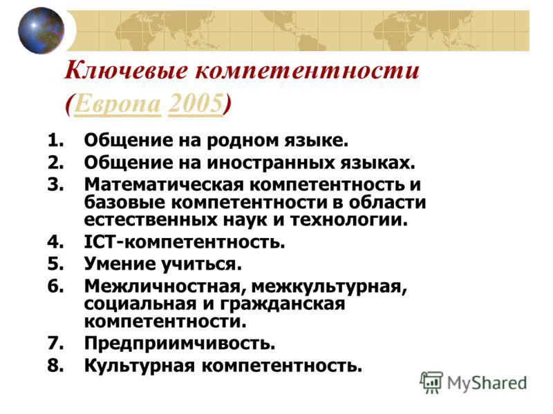 Ключевые компетентности (Европа 2005)Европа2005 1.Общение на родном языке. 2.Общение на иностранных языках. 3.Математическая компетентность и базовые компетентности в области естественных наук и технологии. 4.ICT-компетентность. 5.Умение учиться. 6.М