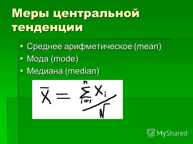 Меры центральной тенденции Среднее арифметическое (mean) Среднее арифметическое (mean) Мода (mode) Мода (mode) Медиана (median) Медиана (median)