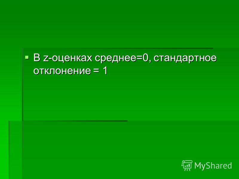 В z-оценках среднее=0, стандартное отклонение = 1 В z-оценках среднее=0, стандартное отклонение = 1