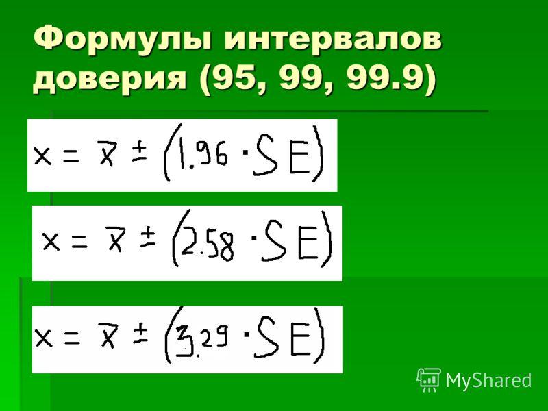 Формулы интервалов доверия (95, 99, 99.9)