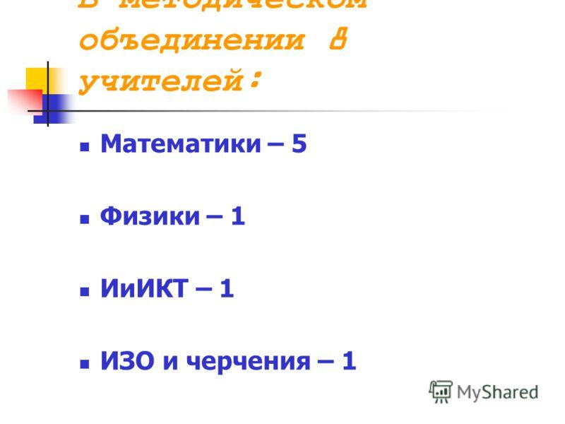 В методическом объединении 8 учителей: Математики – 5 Физики – 1 ИиИКТ – 1 ИЗО и черчения – 1