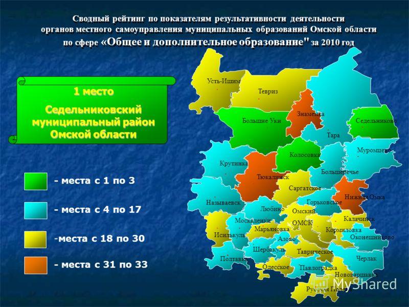 Сводный рейтинг по показателям результативности деятельности органов местного самоуправления муниципальных образований Омской области по сфере «Общее и дополнительное образование