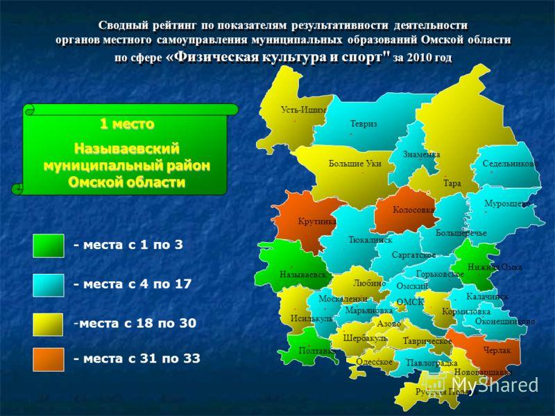 Сводный рейтинг по показателям результативности деятельности органов местного самоуправления муниципальных образований Омской области по сфере «Физическая культура и спорт