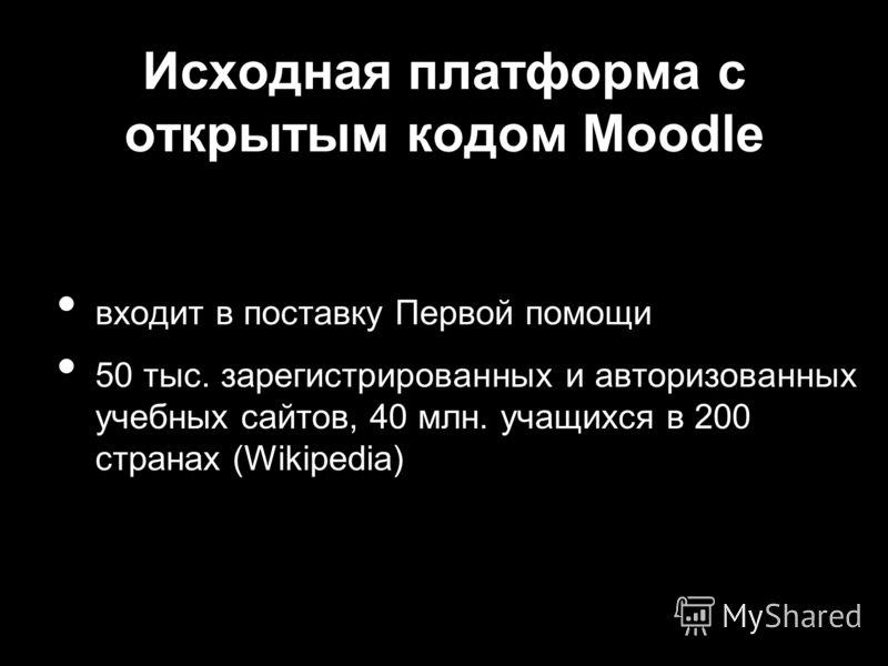 Исходная платформа с открытым кодом Moodle входит в поставку Первой помощи 50 тыс. зарегистрированных и авторизованных учебных сайтов, 40 млн. учащихся в 200 странах (Wikipedia)