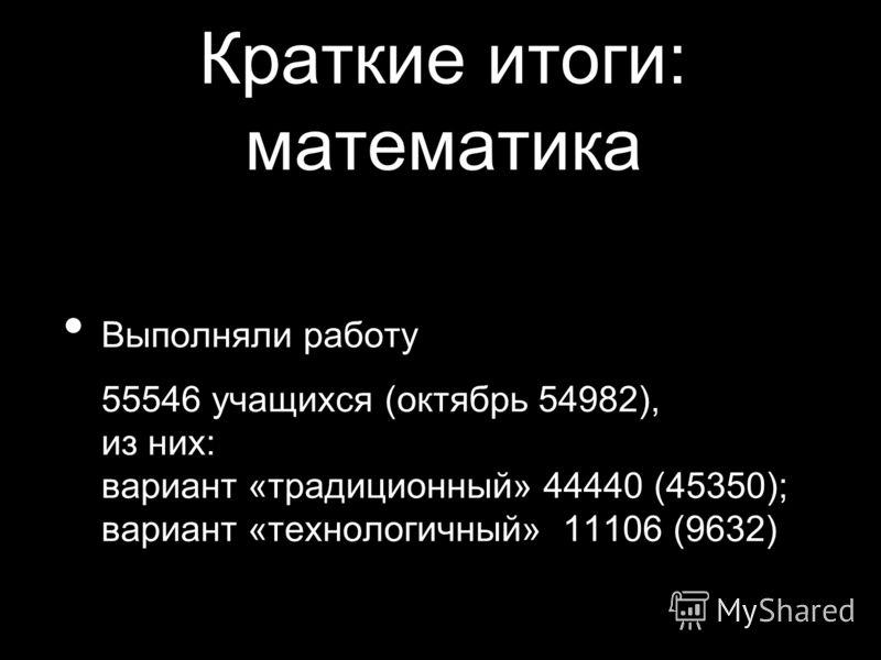 Краткие итоги: математика Выполняли работу 55546 учащихся (октябрь 54982), из них: вариант «традиционный» 44440 (45350); вариант «технологичный» 11106 (9632)