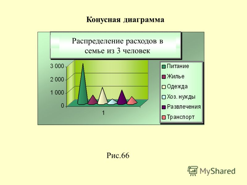 Рис.66 Конусная диаграмма Распределение расходов в семье из 3 человек Распределение расходов в семье из 3 человек