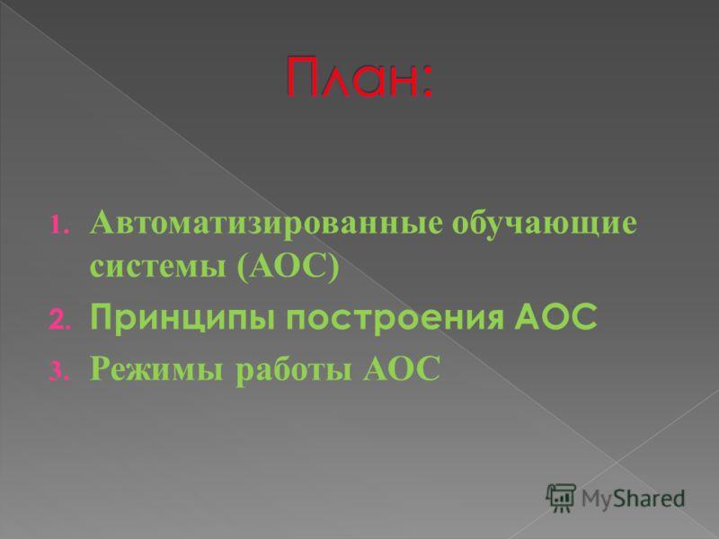 1. Автоматизированные обучающие системы (АОС) 2. Принципы построения АОС 3. Режимы работы АОС