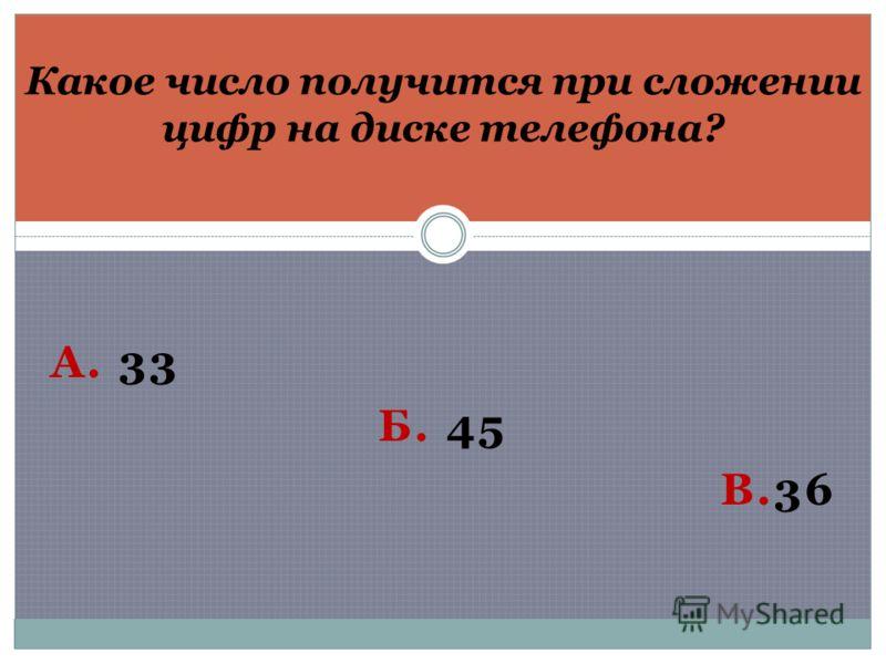 А. 33 Б. 45 В.36 Какое число получится при сложении цифр на диске телефона?