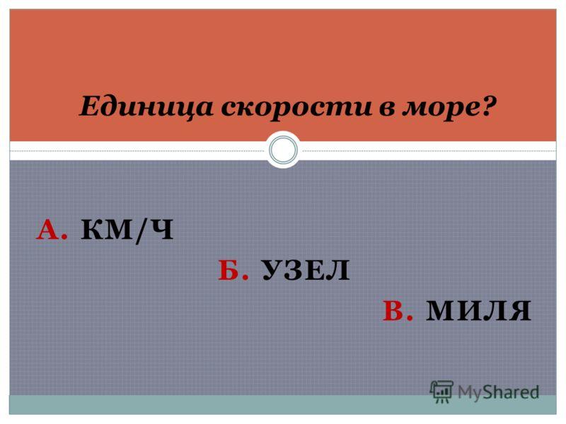 А. КМ/Ч Б. УЗЕЛ В. МИЛЯ Единица скорости в море?