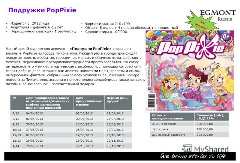 Подружки PopPixie Издается с 2012 года Аудитория девочки 6-12 лет Периодичность выхода 1 раз/месяц Новый яркий журнал для девочек – «Подружки PopPixie» посвящен веселым PopPixie из города Пиксивилля. Каждый раз в городе происходят новые интересные со