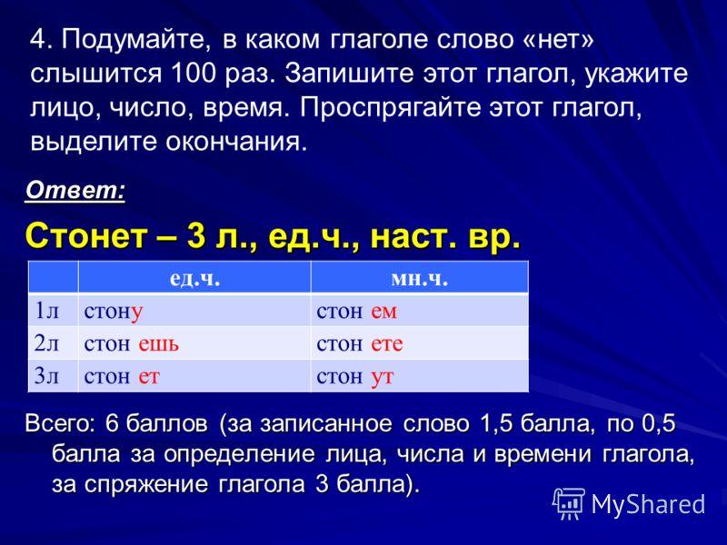 Ответ: Стонет – 3 л., ед.ч., наст. вр. Всего: 6 баллов (за записанное слово 1,5 балла, по 0,5 балла за определение лица, числа и времени глагола, за спряжение глагола 3 балла). ед.ч.мн.ч. 1лстонустон ем 2лстон ешьстон ете 3лстон етстон ут 4. Подумайт